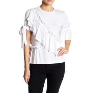 Romeo & Juliet Couture Ruffle & Tie Knit Tee NEW
